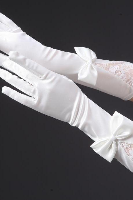 Ivory color Gloves finger Bow Wedding Bridal Gloves Party Gloves Free shipping