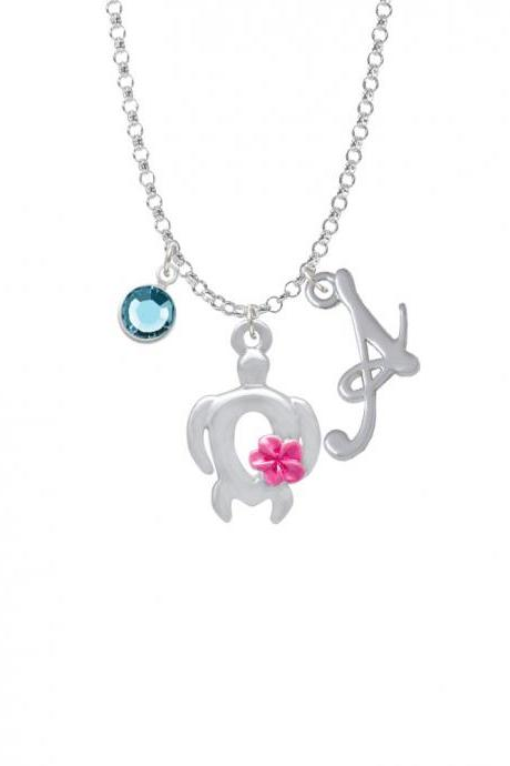 Open Sea Turtle with Hot Pink Plumeria Charm Necklace with Gelato Initial and Crystal Drop NC-Channel-C4100-SmGelato-F2301