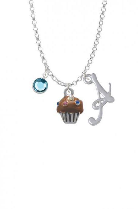 Small Chocolate Cupcake with Crystal Sprinkles Charm Necklace with Gelato Initial and Crystal Drop NC-Channel-C4032-SmGelato-F2301