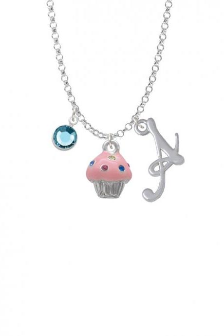 Small Pink Cupcake with Crystal Sprinkles Charm Necklace with Gelato Initial and Crystal Drop NC-Channel-C4033-SmGelato-F2301