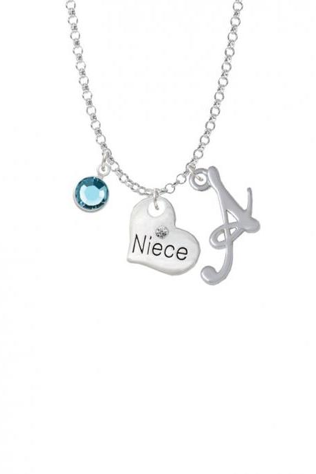 Small Niece Heart Charm Necklace with Gelato Initial and Crystal Drop NC-Channel-C5725-SmGelato-F2301