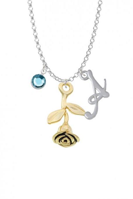 Gold Tone Stemmed Rose Charm Necklace with Gelato Initial and Crystal Drop NC-Channel-C6005-SmGelato-F2301