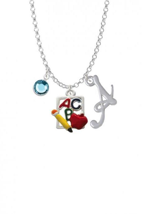 ABC Cutout School Slate Charm Necklace with Gelato Initial and Crystal Drop NC-Channel-C1084-SmGelato-F2301