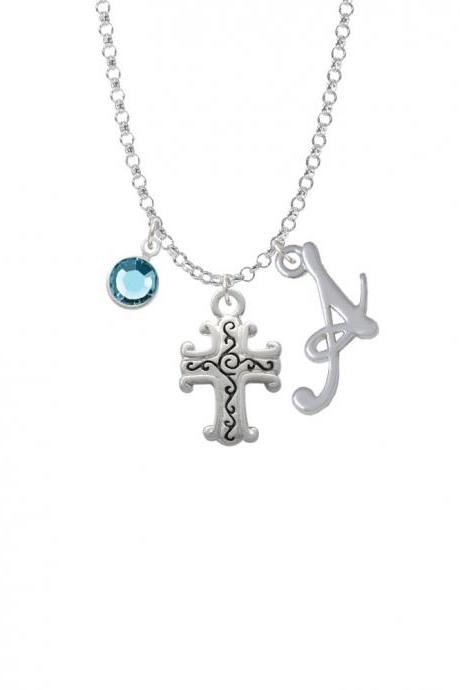Scroll Cross with Antiqued Decoration Charm Necklace with Gelato Initial and Crystal Drop NC-Channel-C1305-SmGelato-F2301