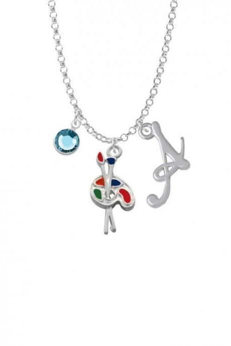 Paint Palette Charm Necklace with Gelato Initial and Crystal Drop NC-Channel-C1423-SmGelato-F2301