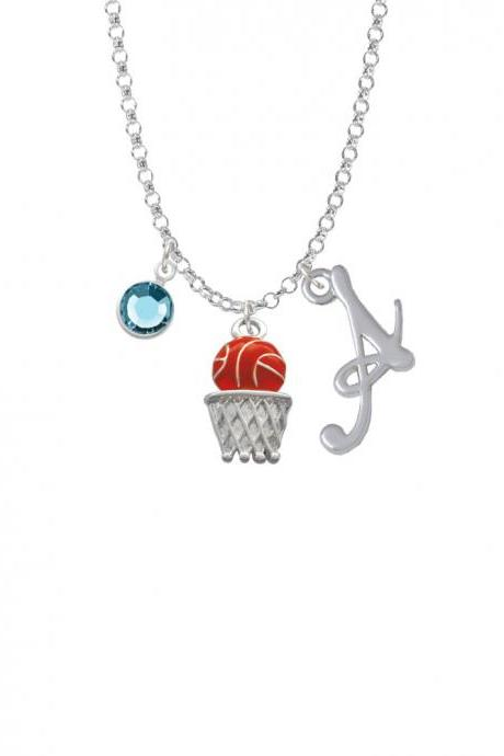 Basketball - Over Hoop Charm Necklace with Gelato Initial and Crystal Drop NC-Channel-C1517-SmGelato-F2301