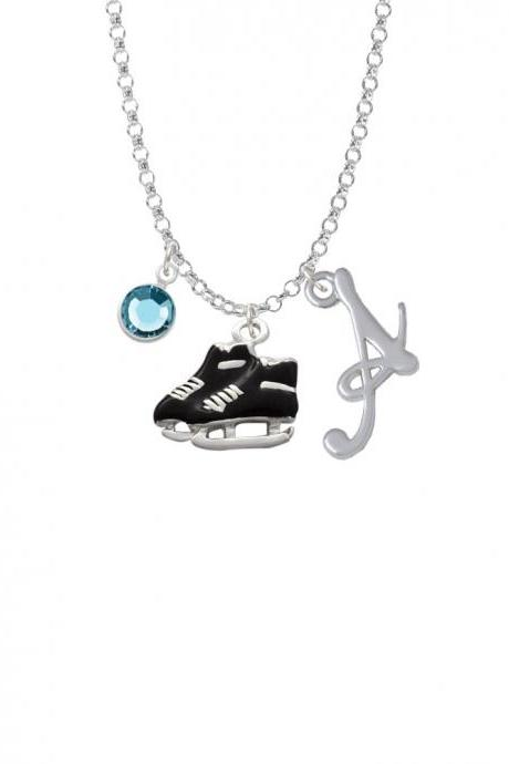 Black Ice Skates Charm Necklace with Gelato Initial and Crystal Drop NC-Channel-C1526-SmGelato-F2301
