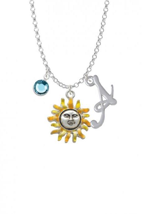 Enamel Sun Charm Necklace with Gelato Initial and Crystal Drop NC-Channel-C2434-SmGelato-F2301
