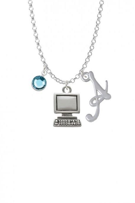 Computer Charm Necklace with Gelato Initial and Crystal Drop NC-Channel-C2500-SmGelato-F2301