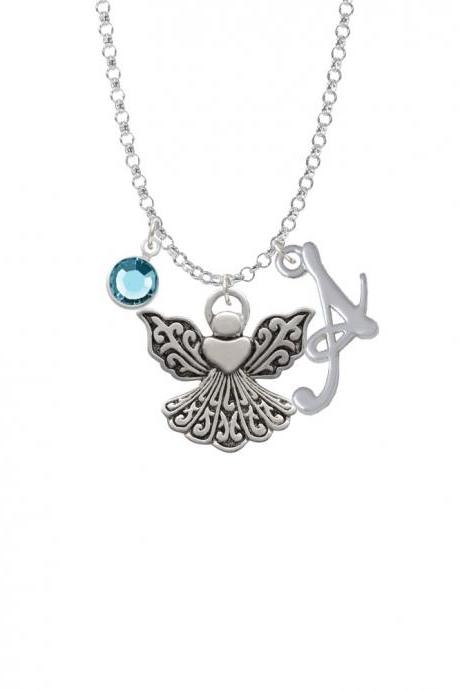 Angel with Heart Charm Necklace with Gelato Initial and Crystal Drop NC-Channel-C2520-SmGelato-F2301
