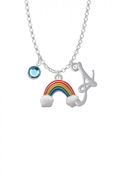 Rainbow Charm Necklace with Gelato Initial and Crystal Drop NC-Channel-C2702-SmGelato-F2301