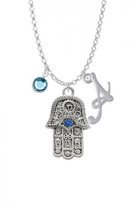 Hamsa Hand with Blue Crystal Charm Necklace with Gelato Initial and Crystal Drop NC-Channel-C2723-SmGelato-F2301