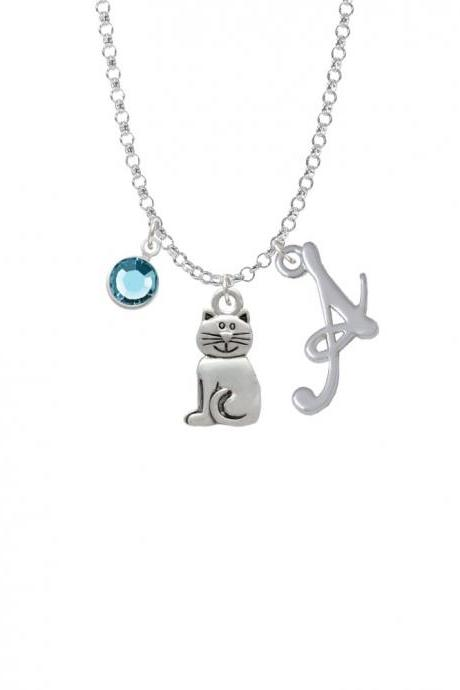 2-D Smiling Cat Charm Necklace with Gelato Initial and Crystal Drop NC-Channel-C3772-SmGelato-F2301