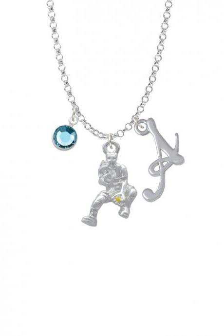 Softball Catcher Charm Necklace with Gelato Initial and Crystal Drop NC-Channel-C4116-SmGelato-F2301