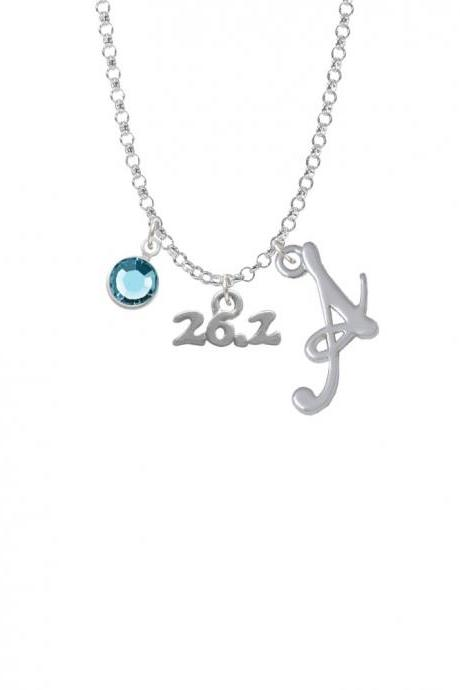Marathon - 26.2 Charm Necklace with Gelato Initial and Crystal Drop NC-Channel-C4142-SmGelato-F2301
