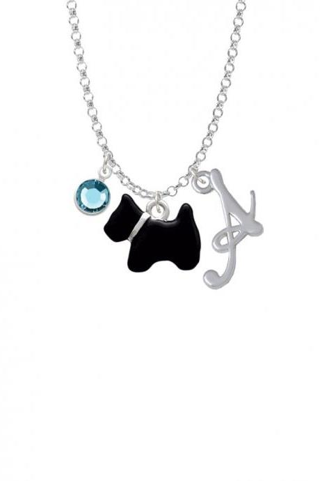 Black Scottie Dog Charm Necklace with Gelato Initial and Crystal Drop NC-Channel-C4175-SmGelato-F2301