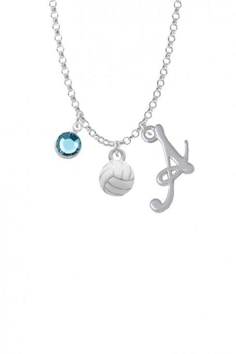 3-D White Volleyball Charm Necklace with Gelato Initial and Crystal Drop NC-Channel-C4221-SmGelato-F2301