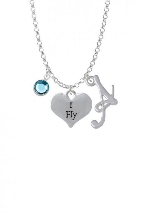 I Fly Heart Charm Necklace with Gelato Initial and Crystal Drop NC-Channel-C4232-SmGelato-F2301
