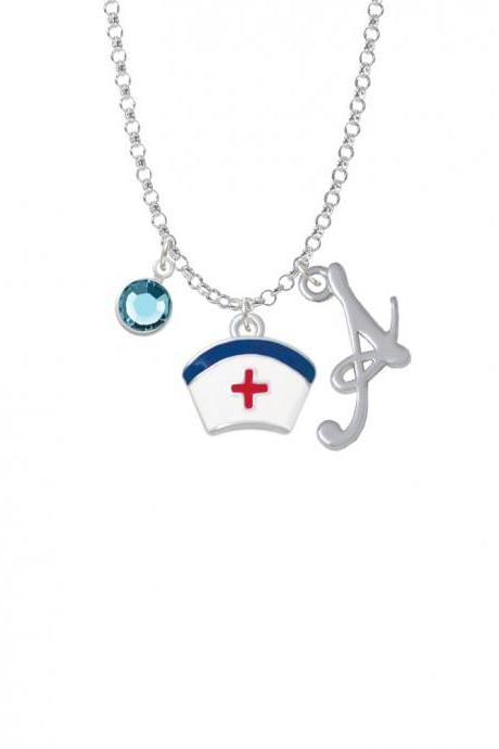 Enamel Nurse Hat - 2 Sided Charm Necklace with Gelato Initial and Crystal Drop NC-Channel-C4828-SmGelato-F2301