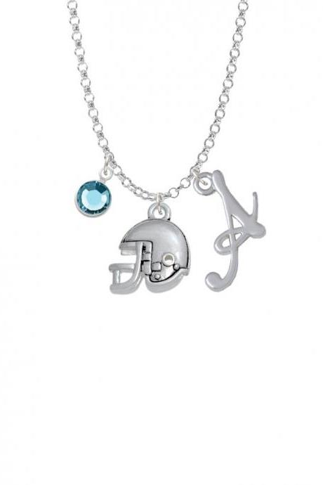 Football Helmet - 2 Sided Charm Necklace with Gelato Initial and Crystal Drop NC-Channel-C4832-SmGelato-F2301