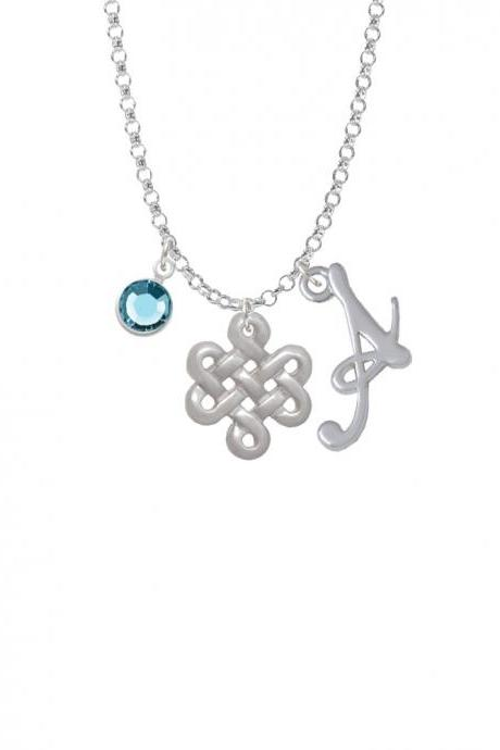 Medium Open Infinity Knot Charm Necklace with Gelato Initial and Crystal Drop NC-Channel-C4905-SmGelato-F2301