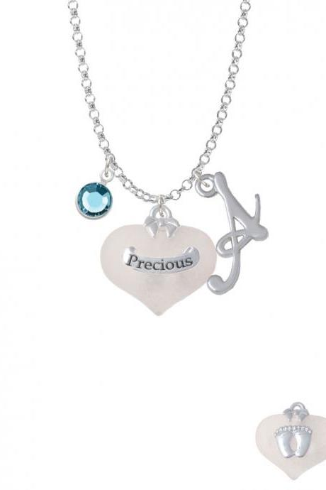 Precious White Heart with Baby Feet Charm Necklace with Gelato Initial and Crystal Drop NC-Channel-C5185-SmGelato-F2301