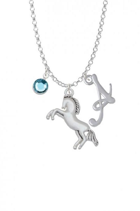 Small Rearing Horse Charm Necklace with Gelato Initial and Crystal Drop NC-Channel-C5710-SmGelato-F2301