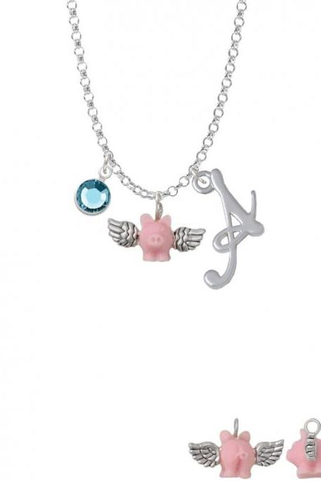 Mini Pink Flying Pig Charm Necklace with Gelato Initial and Crystal Drop NC-Channel-C5834-SmGelato-F2301