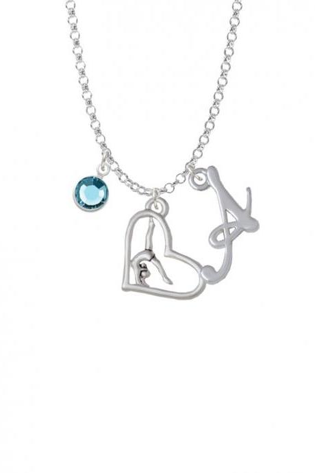 Gymnast in Heart Charm Necklace with Gelato Initial and Crystal Drop NC-Channel-C5864-SmGelato-F2301