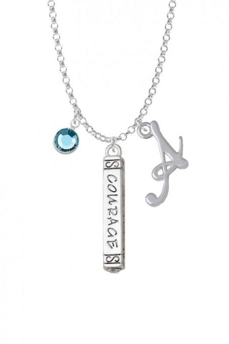 Courage Strength Wisdom Honesty - Bar Charm Necklace with Gelato Initial and Crystal Drop NC-Channel-C5870-SmGelato-F2301