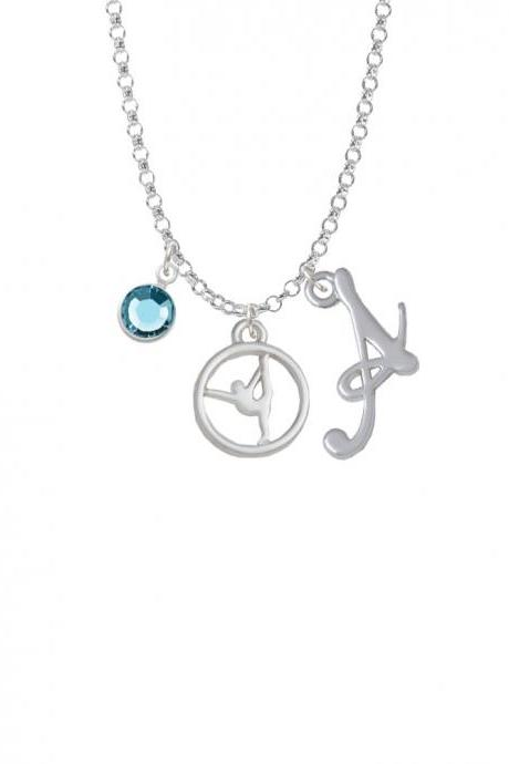 Silhouette Gymnast Disc - Raised Leg Split Charm Necklace with Gelato Initial and Crystal Drop NC-Channel-C5871-SmGelato-F2301