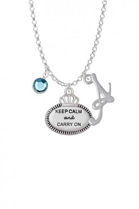 Keep Calm and Carry On Charm Necklace with Gelato Initial and Crystal Drop NC-Channel-C5923-SmGelato-F2301