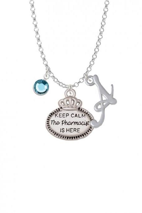 Keep Calm The Pharmacist is Here Charm Necklace with Gelato Initial and Crystal Drop NC-Channel-C5933-SmGelato-F2301