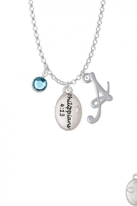Bible Verse Philippians 4:13 Charm Necklace with Gelato Initial and Crystal Drop NC-Channel-C5965-SmGelato-F2301