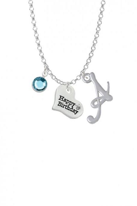 Small Happy Birthday Heart Charm Necklace with Gelato Initial and Crystal Drop NC-Channel-C5976-SmGelato-F2301
