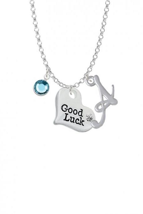 Large Good Luck Heart Charm Necklace with Gelato Initial and Crystal Drop NC-Channel-C5977-SmGelato-F2301