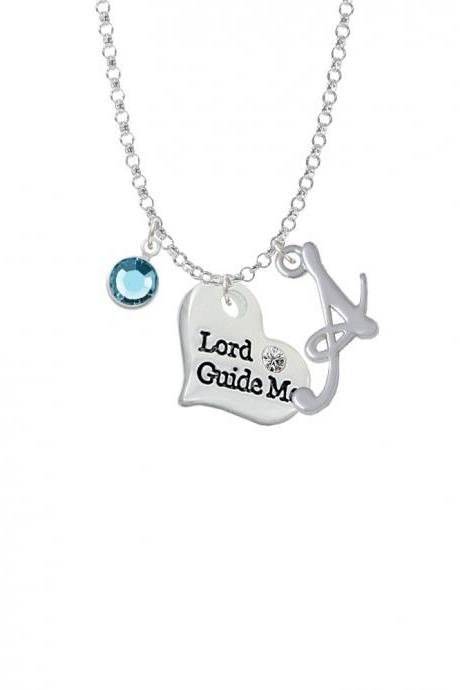 Large Lord Guide Me Heart Charm Necklace with Gelato Initial and Crystal Drop NC-Channel-C5979-SmGelato-F2301