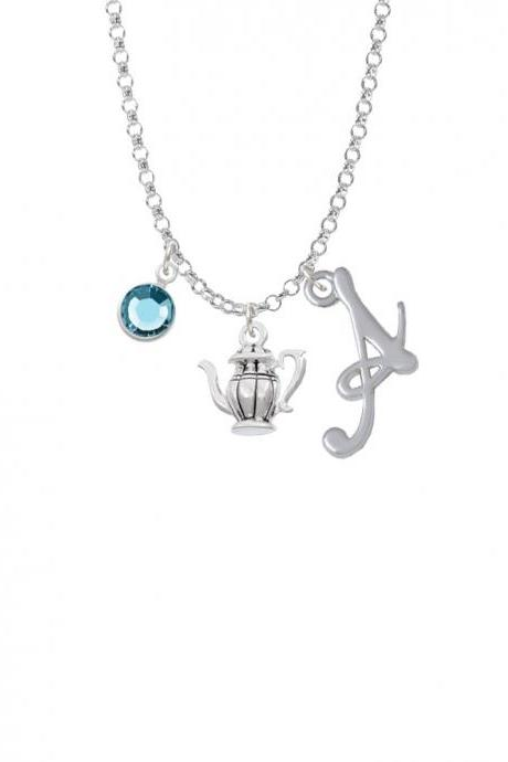 Tea Pot Charm Necklace with Gelato Initial and Crystal Drop NC-Channel-C6011-SmGelato-F2301