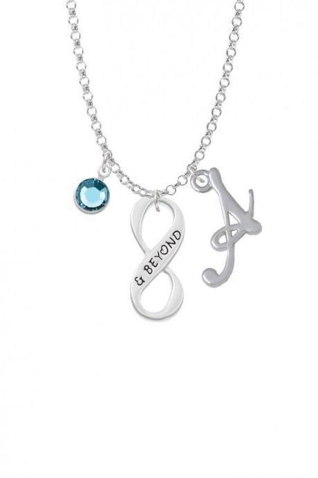 & Beyond Infinity Sign Charm Necklace with Gelato Initial and Crystal Drop NC-Channel-C6043-SmGelato-F2301