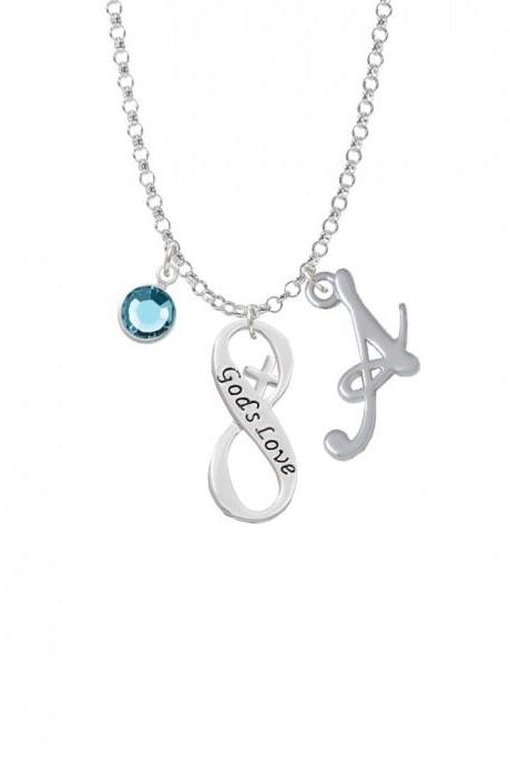 God's Love Infinity Sign Charm Necklace with Gelato Initial and Crystal Drop NC-Channel-C6045-SmGelato-F2301