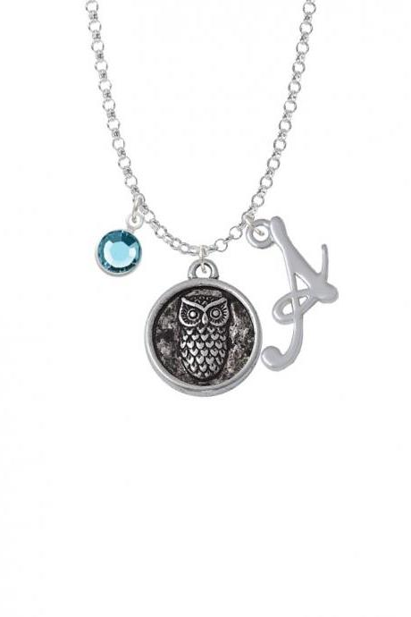 Antiqued Round Seal - Owl Charm Necklace with Gelato Initial and Crystal Drop NC-Channel-CT1073-SmGelato-F2301