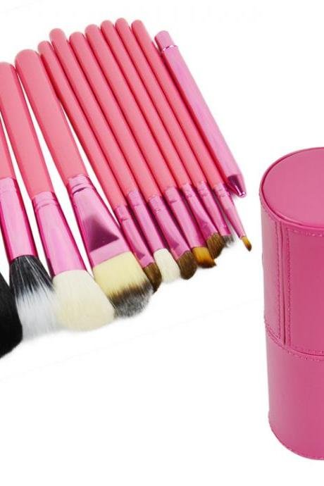 Professional 12Pcs Cosmetic Makeup Brush Set Make-Up Tool With Leather Cup Holder 4Colors for 2015 summer