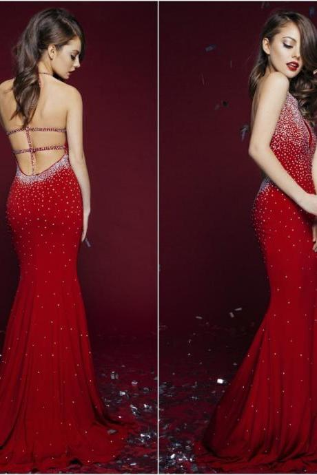 Red Sexy Mermaid Long Prom Dresses,Halter Beaded Lace Evening Dresses, Formal Dresses, Dresses for Prom, Chiffon Floor-Length Evening Dresses
