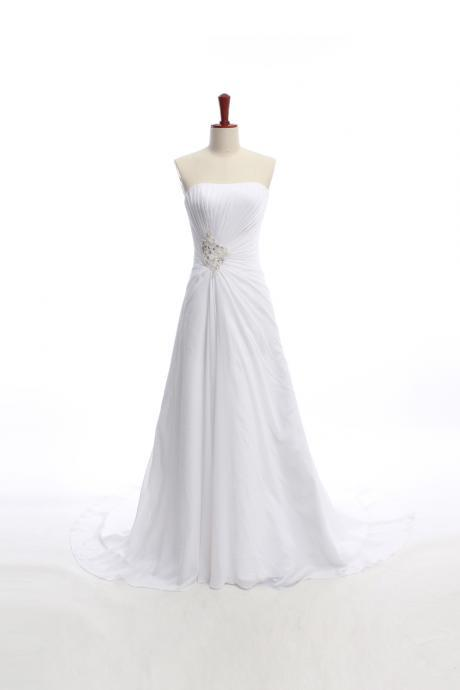 NEW GORGEOUS STRAPLESS A-LINE CHAPEL TRAIN BRIDAL Wedding Dress Bridal Dress Gown Wedding Gown Bridal Gown Lace Bridal Dress