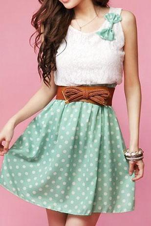 Sweet Bowknot Polka Dots Lace Tank Top Bodycon Dress TR6305U