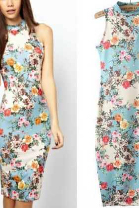 Slim sleeveless Printing package hip dress SF7811JL
