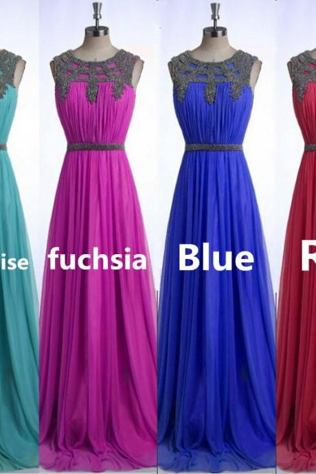 Long Party Dress Elegant Prom Dresses 2015 Blue Beaded Prom Dress Chiffon Evening Dresses Formal Gowns