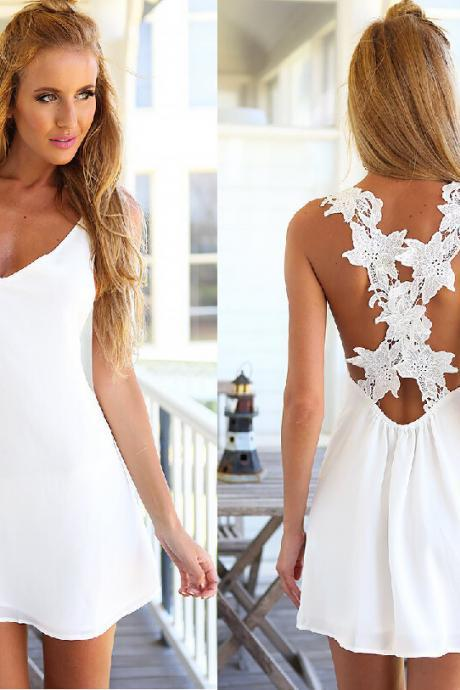 White Straps lace fashion sleeveless dress F821468