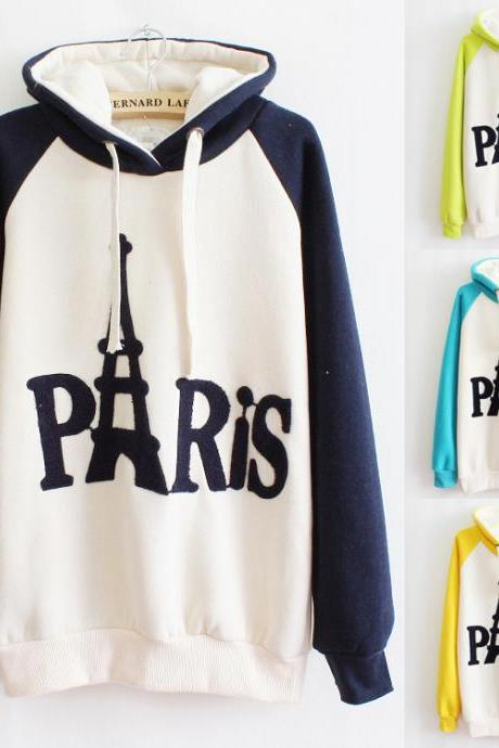 Embroidered Hooded Sweater Letters A