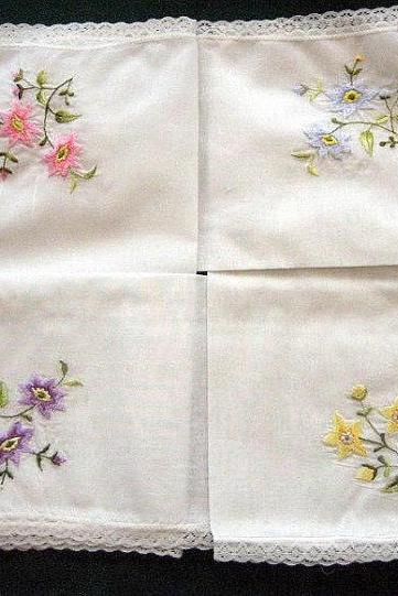 Personalized Wedding Handkerchief with flowers.
